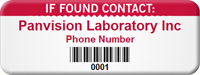 Customizable If Found Contact Asset Tag with Barcode