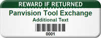 Custom Reward If Returned Asset Tag with Barcode