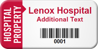 Hospital Property Custom Asset Tag with Barcode