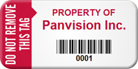 Custom Do Not Remove Asset Barcode Tag