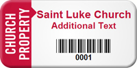 Church Property Custom Asset Tag with Barcode