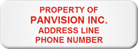 Asset Label, Property of Company Name with Phone Number