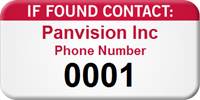 If Found Contact Customizable Asset Tag with Numbering