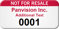 Custom Not For Resale Asset Tag with Numbering