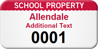 Custom School Property Asset Tag with Numbering