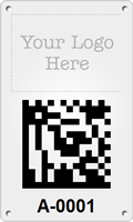 Asset Tag Plates with Custom Logo 2D Barcode