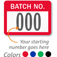 BATCH NO., with consecutive numbering