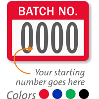 BATCH NO. Label, numbering, pack of 1000