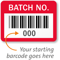 BATCH NO., with barcode numbering