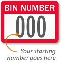 BIN NUMBER, with consecutive numbering