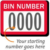 BIN NUMBER Label, numbering, pack of 1000