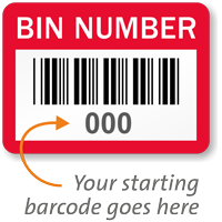 BIN NUMBER, with barcode numbering