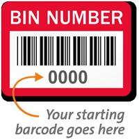 BIN NUMBER Label, barcode, pack of 1000