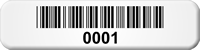 Consecutive Pre-Numbered Barcode Labels, 0.25in. x 1in