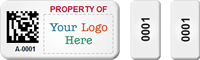 Custom 3-in-1 2D Barcode Logo Asset Tag