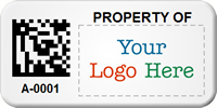 Custom 2D Barcode Asset Tag with Logo
