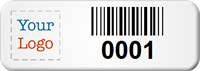 Customizable Small Barcode Number Asset Tags with Logo