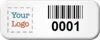 Custom Small Barcode Number Asset Tags with Logo