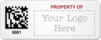 Design Property Of Tag with 2D Barcode, Logo