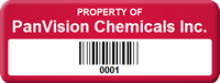 Design Property Of Company Name Tag with Barcode