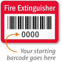 FIRE EXTINGUISHER Label, barcode, pack of 1000