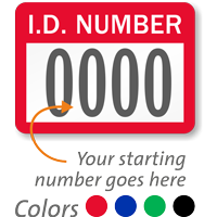 ID Number - Prenumbered Labels (Pack of 1000)