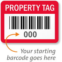 Property Tag Barcode Numbered Labels (Pack of 100)