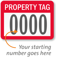 Property Tag Prenumbered Labels (Pack of 1000)