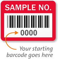 SAMPLE NO. Label, barcode, pack of 1000