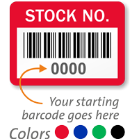 STOCK NO. Label, barcode, pack of 1000