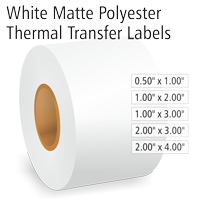 White Matte Polyester Thermal Transfer Labels