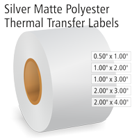 Silver Matte Polyester Thermal Transfer Labels