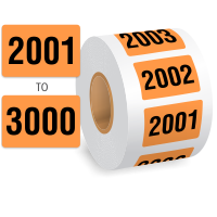 2001 to 3000 Consecutively Pre-Numbered Roll Of Labels