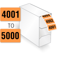 4001-5000 Consecutive Number Labels Roll in Dispenser