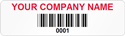 Asset Label, Company Name with Barcode