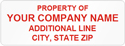 Asset Labels, Property of Company Name with two lines of text