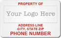 Asset Label, Property of Company Name Phone Number