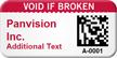 Custom 2D Void If Broken Barcode Asset Tag