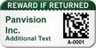 Custom 2D Reward If Returned Barcode Asset Tag