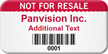 Custom Not For Resale Asset Tag with Barcode