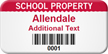 Custom School Property Asset Tag with Barcode