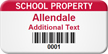 Customized School Property Asset Tag