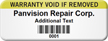 Personalized Warranty Void Asset Tag with Barcode