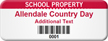Personalized School Property Asset Tag with Barcode