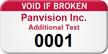 Numbered Void If Broken Custom Assset Tag