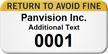 Return To Avoid Fine Custom Numbered Asset Label