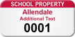 School Property Customizable Asset Tag with Numbering