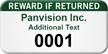 Numbered Reward If Returned Custom Assset Tag
