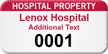 Hospital Property Customizable Numbered Asset Tag