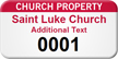 Church Property - Personalized Numbered Asset Tag